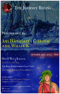 Event honoring Kumu Kimokeo Kapahulehua that includes dinner, fashion show, crafts and concert.
