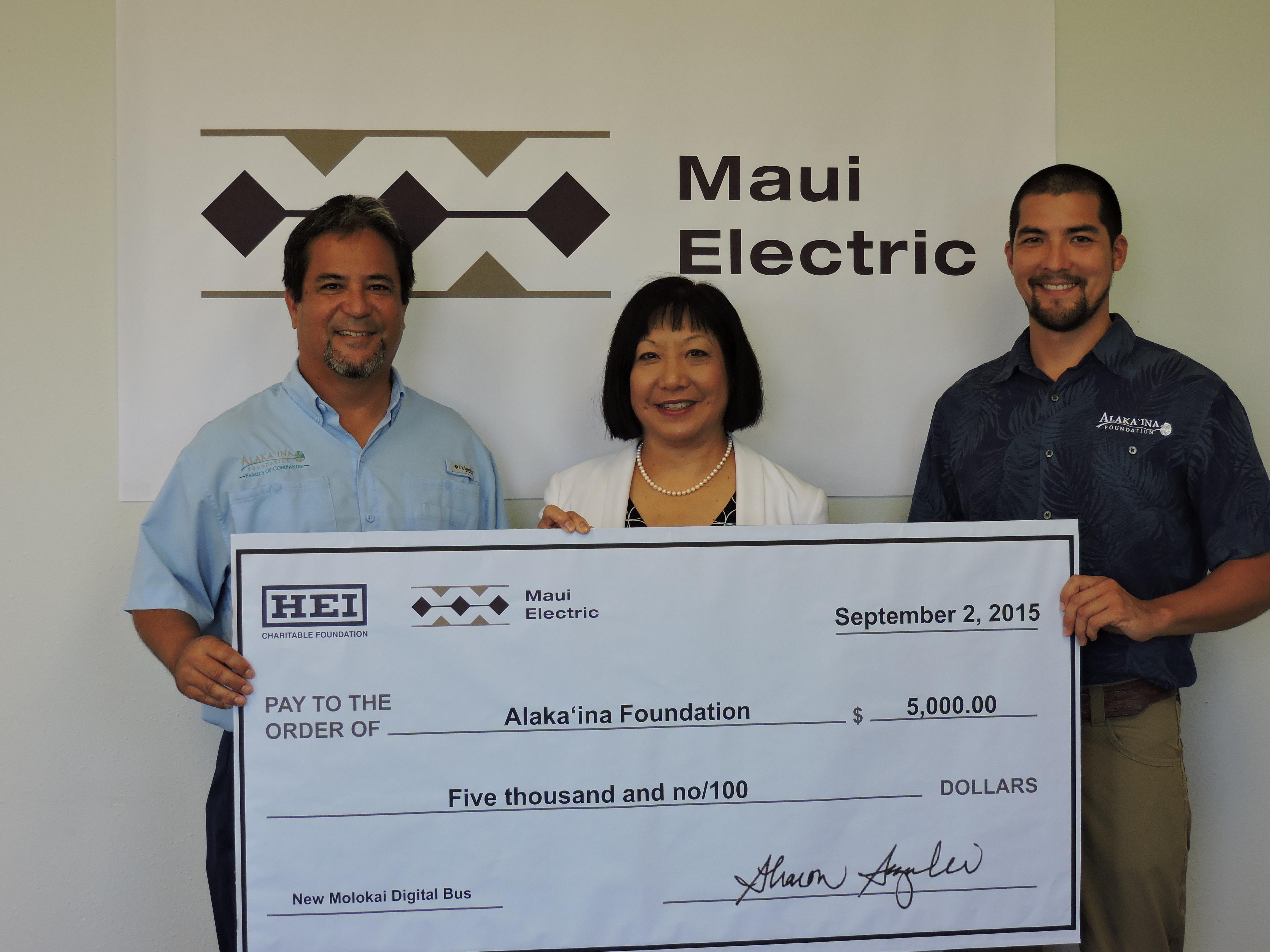 Maui Electric Alaka'ina Foundation Donation