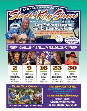 George Kahumoku Jr. will present his Grammy Award-winning slack key show, Masters of Hawaiian Music, sept 2015 poster