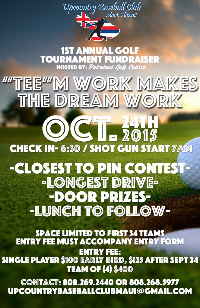 Upcountry Baseball Club golf tournament flyer.