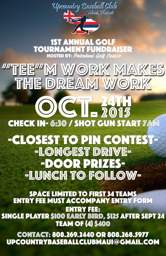 Upcountry Baseball Club golf tournament flyer.
