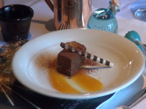 Chocolate feuillantine with Kuʻau orange liliko'i cream, created by Westin Kāʻanapali Ocean Resort Villas executive chef Francois Milliet for the Moscow Mule pairing lunch. Photo by Kiaora Bohlool.
