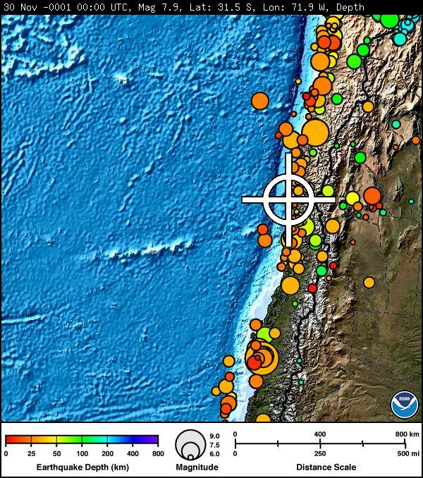 Chile Earthquake Sept. 16, 2015. Image credit: Pacific Tsunami Warning Center.