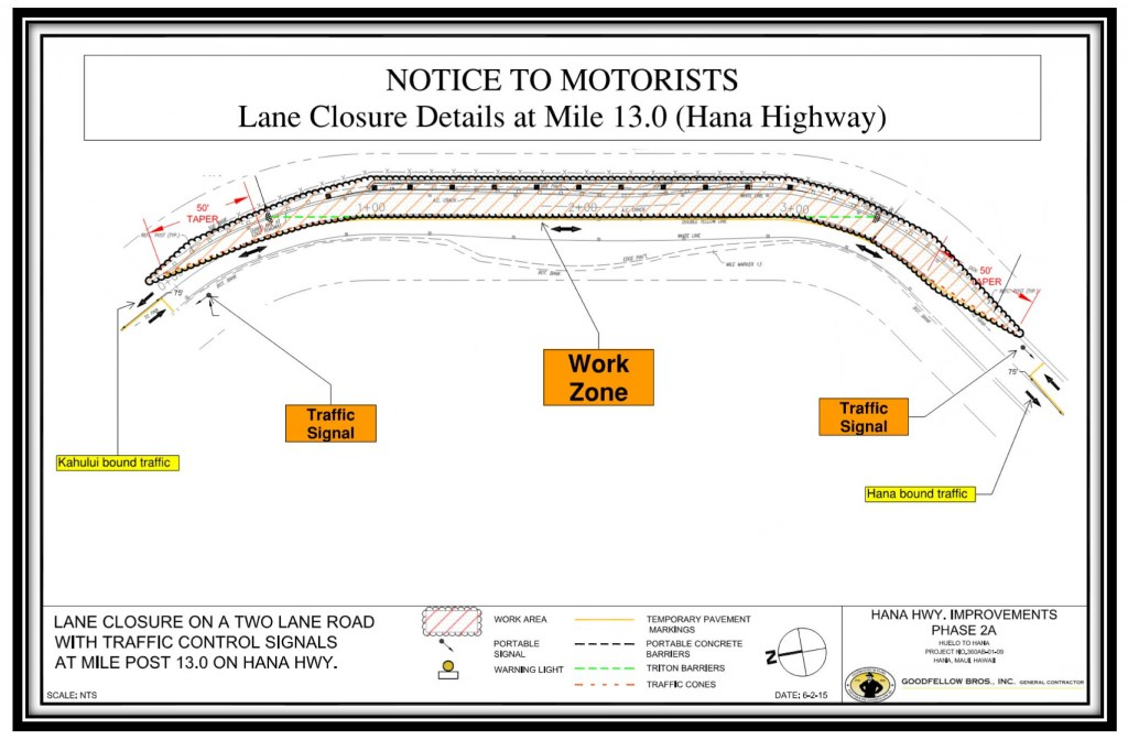 Hāna Highway Roadwork Notice.