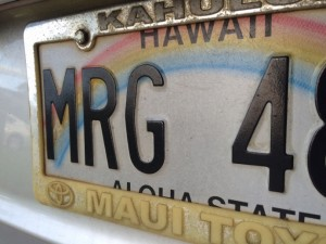 Hawaiʻi license plate. File photo Maui Now.