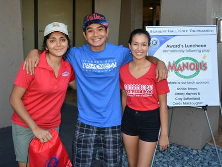 (Left to Right) Seabury Hall Golf Team member, Jasmine Patel, and Rising Senior Scholarship Recipients, Thomas Hayashi and Sophia Domingo.