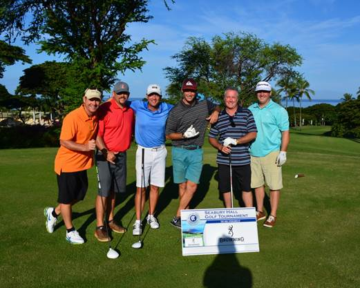 (left to right), Aaron Brummel, Adam Quinn, Jerry King, Ryan Silva, and Event Title Sponsor, John Browning, and Greg Burns at the Seabury Hall 21st Annual Benefit Golf Tournament.