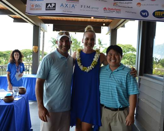 Longest Drive Winners, Rick Tramontin and Desiree Ting with Event Chair, Kaimana Lee Brummel (center)
