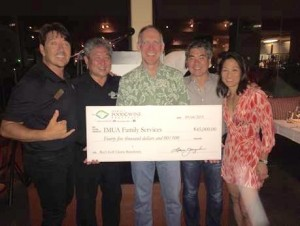 Dean Wong (Imua Family Services), Alan Wong (Alan Wong's Restaurants), Bob Harrison (First Hawaiian Bank), Roy Yamaguchi (Roy's Restaurants of Hawaii) and Denise Hayashi Yamaguchi (Hawaii Food and Wine Festival) pose with the donation check for Imua Family Services. Courtesy photo.