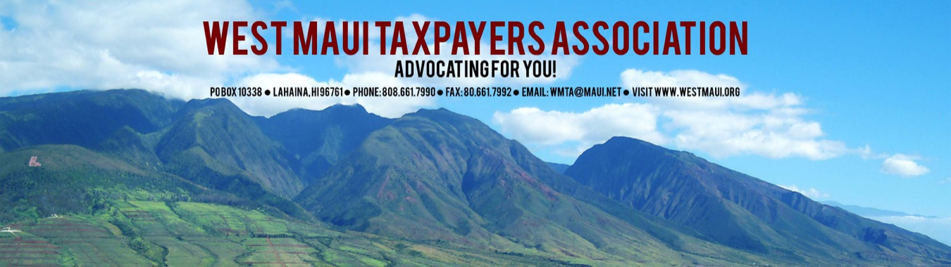 West Maui Taxpayer Meeting to Focus on Disaster Preparedness