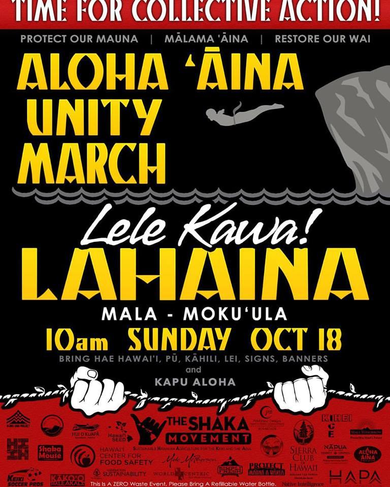 Aloha ʻĀina Unity March event flyer.