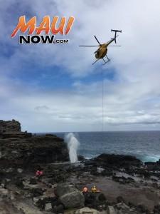 Nākālele Blow Hole, Oct. 26, 2015. Photo credit: Nāpili fire crew, Engine 11