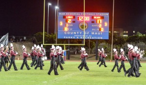 Baldwin High School's band performs during halftime's homecoming festivities Friday against Lahainaluna. Photo by Rodney S. Yap.