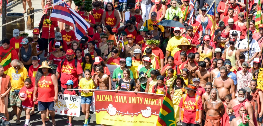 Maui's youth led Sunday's Aloha ʻĀina Unity March down Front Street in Lahaina. Organizers estimate 6,000 people attended the march and the rally that followed. Photo by Rodney S. Yap.