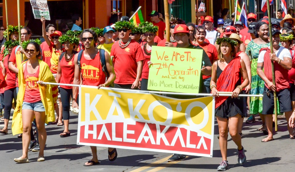 Sunday's Aloha ʻĀina Unity March down Front Street in Lahaina. Organizers estimate 6,000 people attended the march and the rally that followed. Photo by Rodney S. Yap.