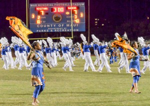 Maui High's award-winning marching band performed during halftime Saturday. Photo by Rodney S. yap.