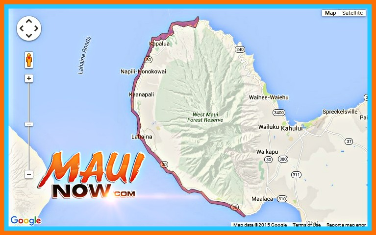 Brown Water Advisory, NW Shores of Maui, Oct. 18, 2015. Image credit: Google Maps/Hawaiʻi State Department of Health.