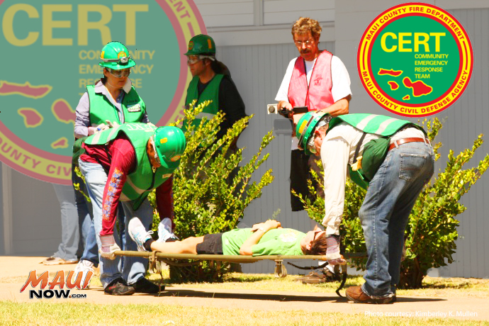 CERT training in fire suppression Photo by Kimberley K Mullen courtesy Maui Civil Defense Agency. Maui Now Graphics.