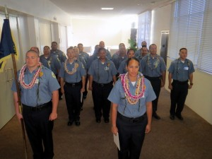 Adult Corrections Officer Recruit Graduation Class in Formation. Photo credit: Department of Public Safety.
