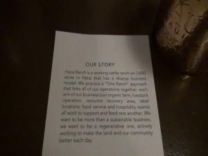 A summary of the Hāna Ranch story at Hāna Ranch Provisions in Pāʻia. Photo by Kiaora Bohlool.
