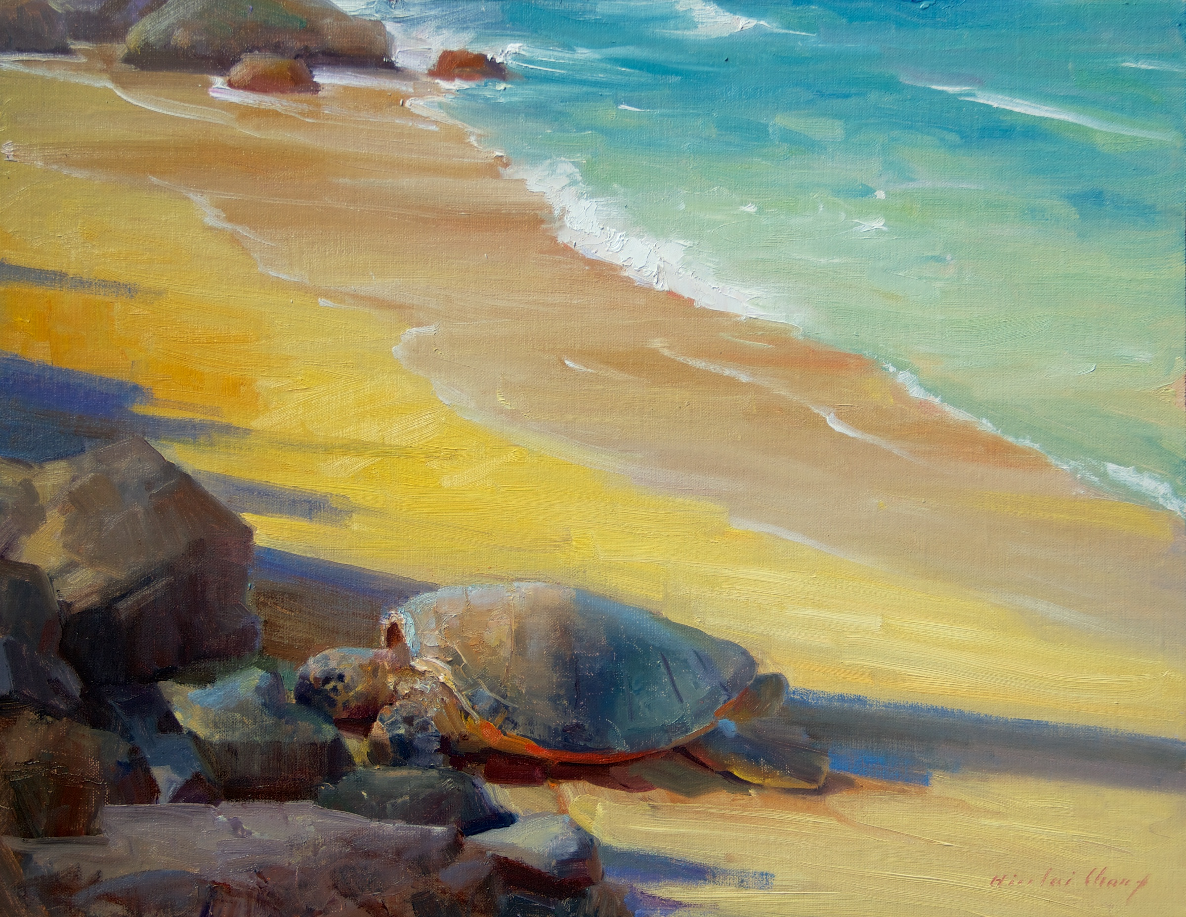 "Hiu Lai Chongʻs rendering of a Maui honu, ""Sunbathing,"" in Lahaina. Chong will be conducting a workshop on Maui, Feb. 9-11. Photo provided by"