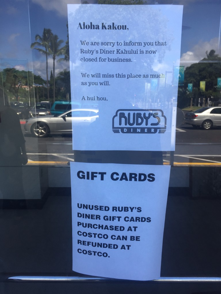 Ruby's Diner at the Queen Kaʻahumanu Shopping Center in Kahului. Photo by Jack Dugan.