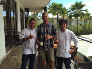 Chef Isaac Bancaco, winemaker Brett Miller and Chef Ritchard Cariaga, part of the Chef Bloc Series at Andaz Maui.