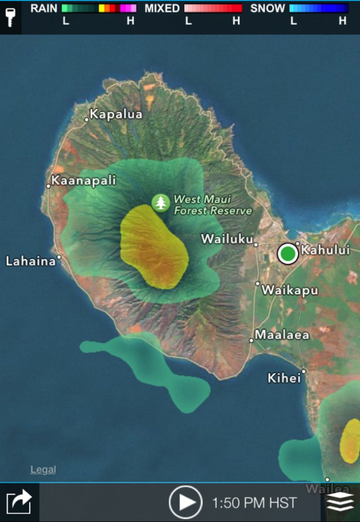Radar image of West Maui courtesy Maui Fire Department.
