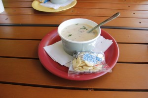 Seafood Chowder, made fresh daily at Coconut's Fish Cafe in Kihei. Photo by Marlo Antes.