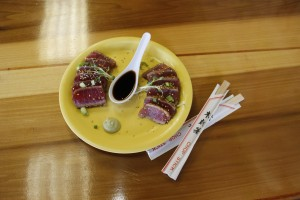 Sesame-cruated, seared Ahi appetizer at Coconut's Fish Cafe in Kihei. Photo by Marlo Antes.