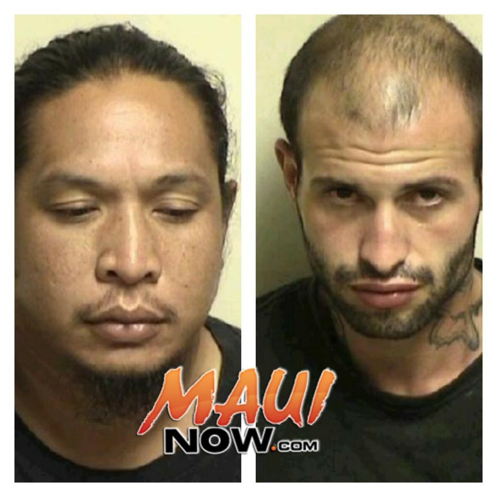 Chad Kaipo NAEHU (32), from Kaunakakai, Molokai, and Travis TORRES (26) from Hoolehua, Molokai. Photos credit: Maui Police Department.