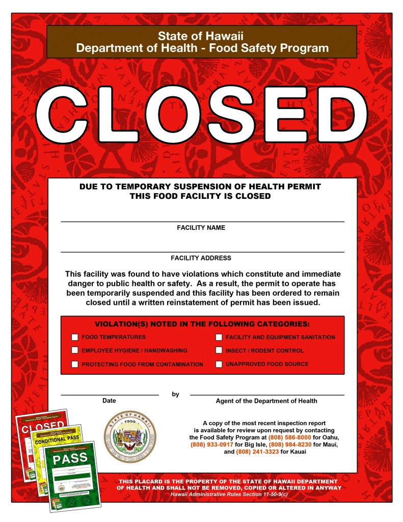 Red Placard. Image courtesy: state Department of Health.