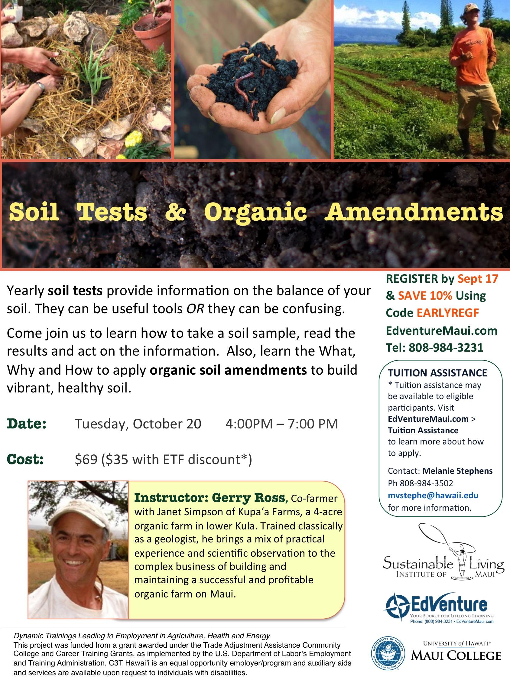 SLIM gardening class flyer Soil Tests and Organic Amendments