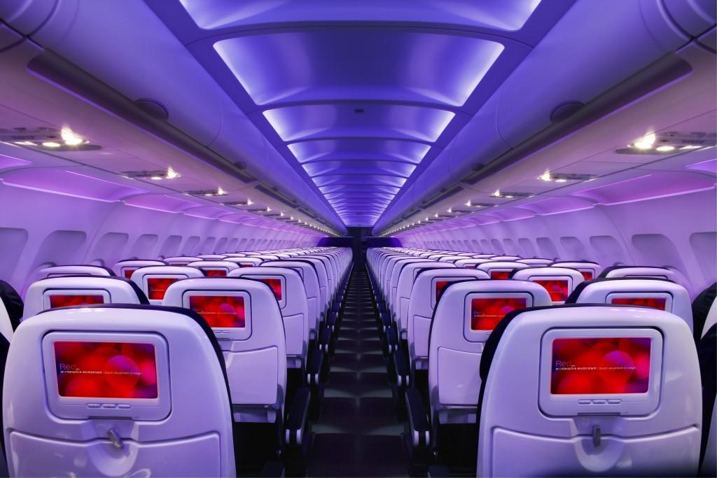 Virgin America plane interior.
