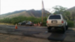 Traffic accident on the Honoapiʻilani Highway, Oct. 25, 2015.  Photo credit: Diane Lajorda.