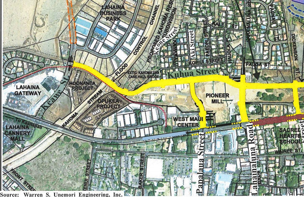 Proposed Kuhua Street Extension map showing terminus at Keawe Street. Image credit: Warren S Unemori Engineering, Inc. via Munekiyo Hiraga and Final Environmental Assessment prepared for the Maui Department of Public Works.
