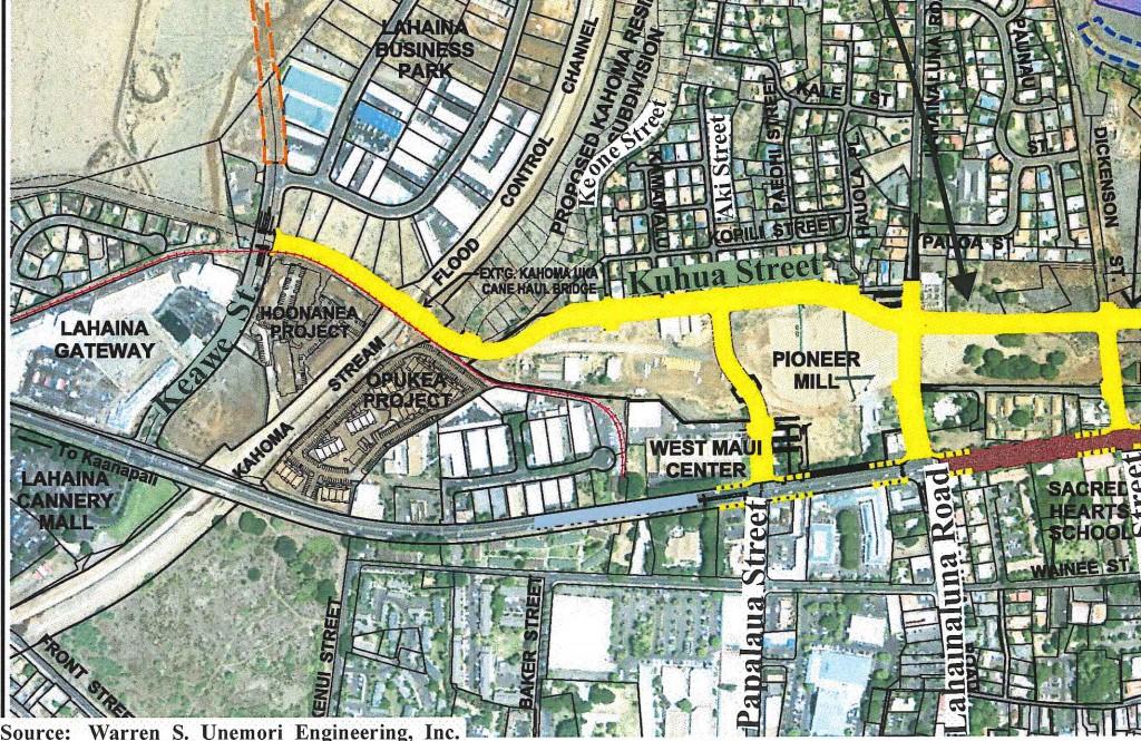 Proposed Kuhua Street Extension map showing terminus at Keawe Street. Image credit: Warren S Unemori Engineering, Inc. via Munekiyo Hiraga and Final Environmental Assessment prepared for the Maui Department of Public Works.