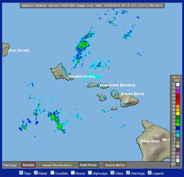 Radar, Oct. 4, 2015. Image credit: NOAA/NWS.