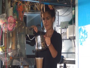 Brewing specialty expresso drinks at Kama Hele Food Truck in Hali'imaile. Photo by Kiaora Bohlool.