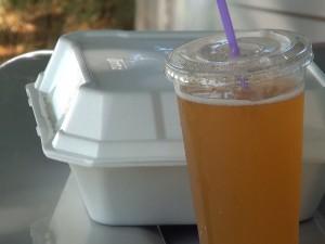 To-go food and kombucha from Kama Hele Cafe in Hali'imaile. Photo by Kiaora Bohlool.