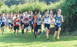The early leaders in the boys division of the state cross country race held at Seabury Hall on Saturday. Photo by Rodney S. Yap.