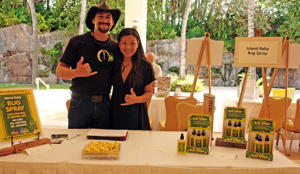 Jacob and Stephanie Adolpho of Island Baby Bug Spray at the 2015 Hui Holomua 9th Business Fest. MBB photo.