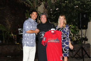 Kurt Suzuki, Chef Alan Wong and Kurt's wife Renee at A Taste of Hawai'i 2015. Photo courtesy of The Kurt Suzuki Family Foundation.