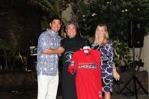Kurt Suzuki, Chef Alan Wong and Kurt's wife Renee at A Taste of Hawai'i 2015. Photo courtesy of The Kurt Suzuki Family Foundation.