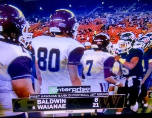 The Bears shake hands with the Seariders of Waianae following their 21-6 first-round loss Friday at Aloha Stadium. Photo from OC16 broadcast.