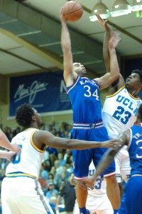 Kansas' Perry Ellis goes up for two of his 24 points Tuesday against UCLA's Tony Parker at the Lahaina Civic Center. Photo by Joel B. Tamayo.