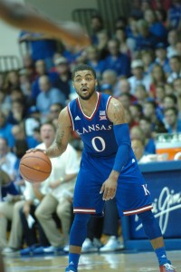 Kansas guard Frank Mason eyes the floor during the Jayhawks' semifinal game against UCLA Tuesday at the Lahaina Civic Center. Photo by Joel B. Tamayo.