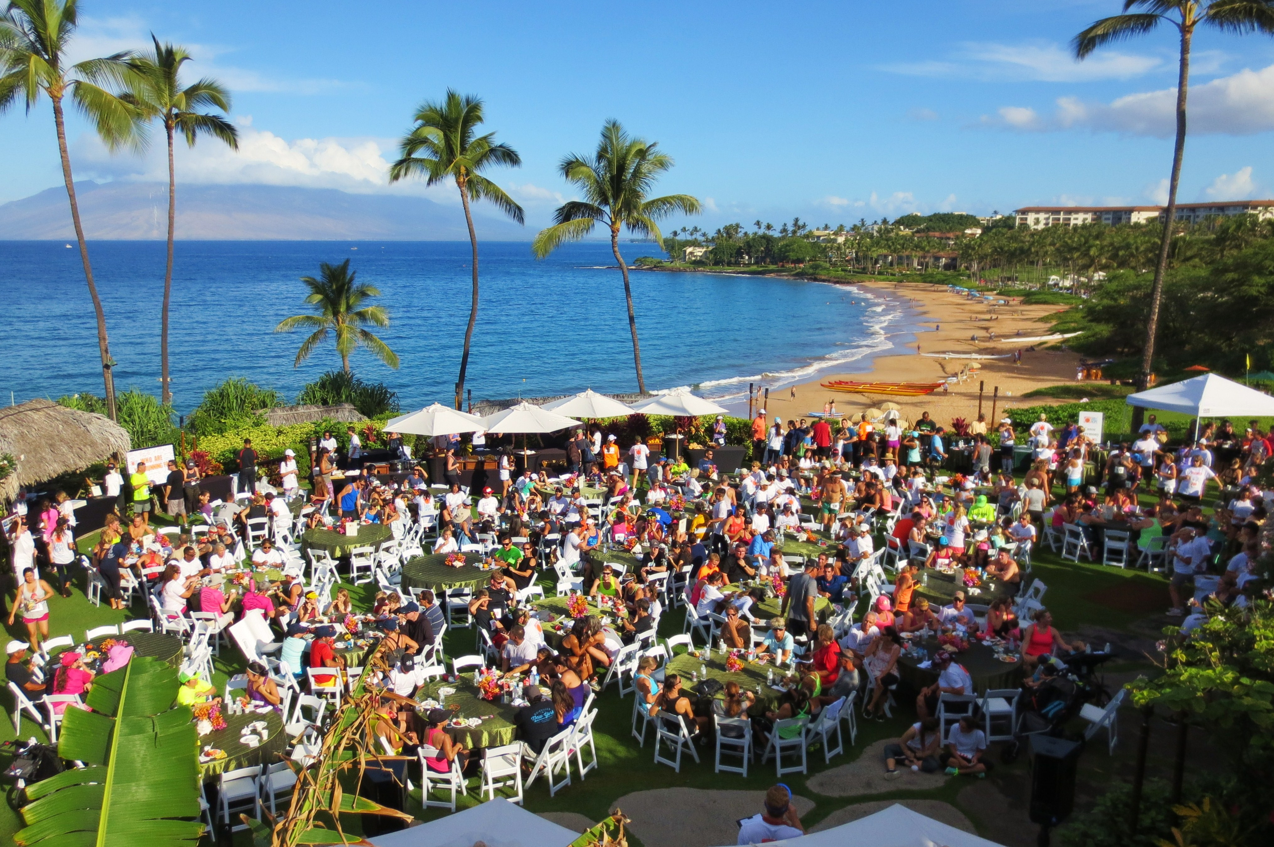 Day of Hope 2015 post-run breakfast on our Ocean Front Lawn at the Four Seasons Resort Maui at Wailea.