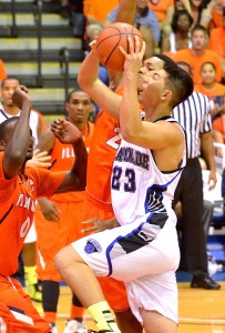 Senior Kevin Hu, shown here playing in the 2013 MIT, was named to All-Pacific West Conference Third Team last year. File photo by Rodney S. Yap.