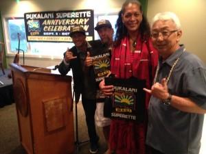 Left to right: Emcee Kaleo Pilanca; soundman Steve Lanse; Kumu Pulama Collier; and General Manager Jerry Masaki.